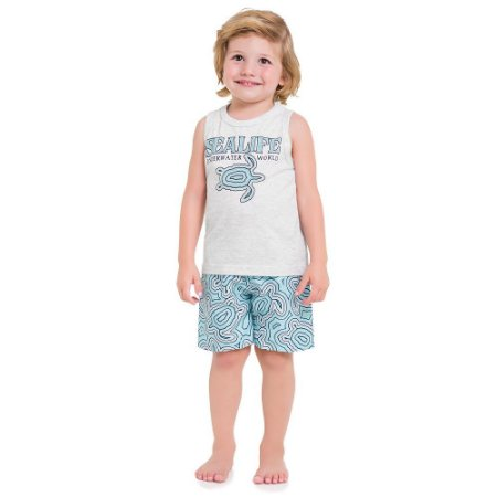 Conjunto infantil Masculino -  Blusa Regata + Bermuda - Milon