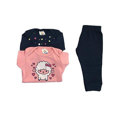 Kit Body e calça bebê Menina Estampa Ovelha e Poá - Look Infantil