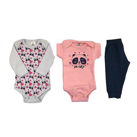 Kit Body e calça bebê Menina  Estampa Panda - Look Infantil