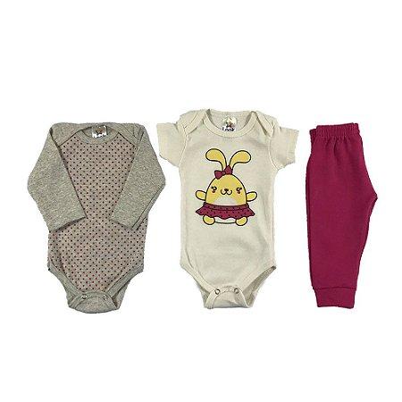 Kit Body e calça bebê Menina Estampa Poá - Look Infantil