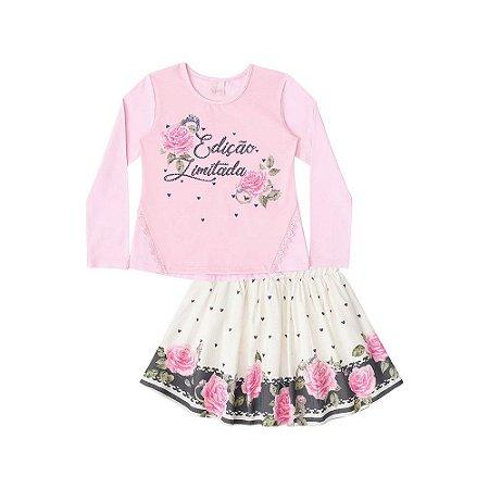 Conjunto Blusa em Cotton e Saia em Sattin Textura com Shorts - Infanti