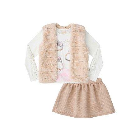 Conjunto Feminino Blusa Cotton, Colete  Pelo e  Saia em Jaquard
