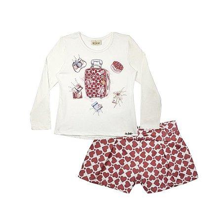 Conjunto Feminino Blusa em cotton com shorts em malha térmica - KUKIE