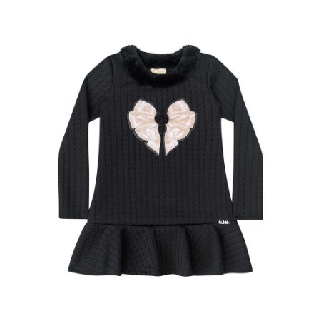 Vestido Infantil com Jacquard Texturizado Kukiê