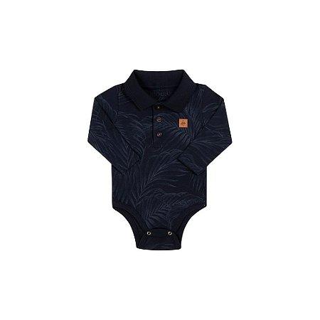 Body Bebê Masculino em Gola Polo e Manga Longa Folhas - Biogas