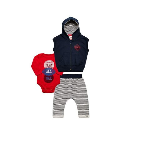 Conjunto Masculino Moletom Bebê - Calça Saruel Colete e Body Tholokko