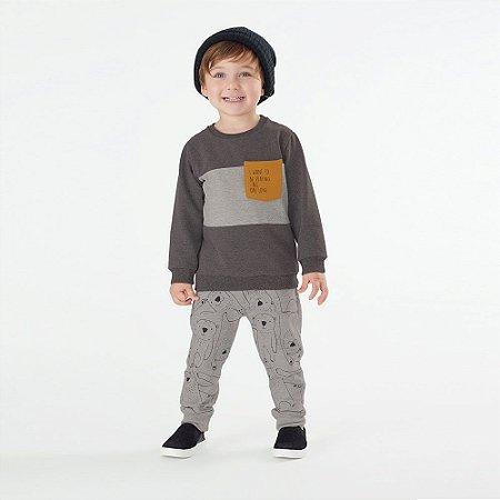 Conjunto Infantil Masculino de Moletom com estampa de Urso