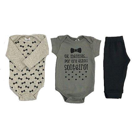 Kit Body e calça bebê Menino Estampa Gravatinha  - Look Infantil