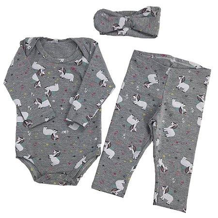 Kit Body Cotton + Calça + Laço - Estampa Unicórnio