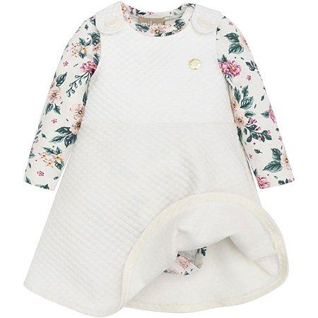 Conjunto Bebê Feminino Body Florido + Salopete Milon