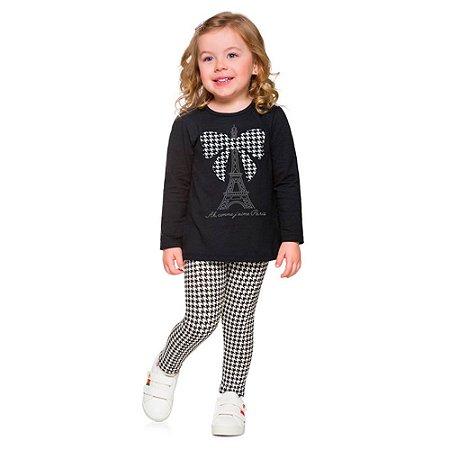 Conjunto Infantil Feminino Blusa + Legging Torre Eiffel