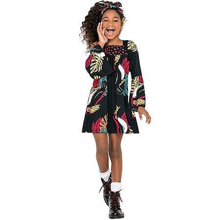 Vestido Infantil Tricoline Viscose Folhas - Nanai