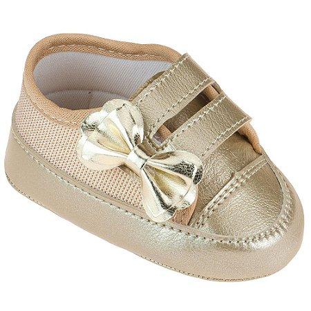 Tenis Bebê Feminino com Laço - Dourado