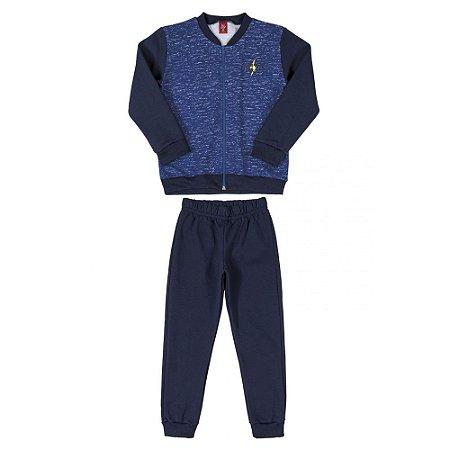 Conjunto Infantil Masculino Jaqueta e Calça em Moletom - Azul