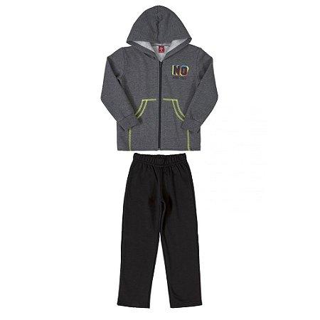 Conjunto Infantil Masculino Jaqueta e Calça em Moletom Peluciado