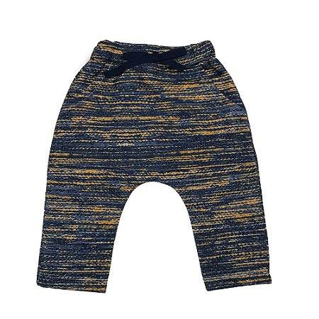 Calça Saruel Infantil Masculino Moletom Peluciado Azul Marinho Rajada Caramelo