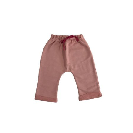 Calça Saruel Infantil Feminina Moletinho Rosa + laço - Menina