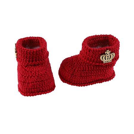 Botinha de Crochê Masculina Vermelha