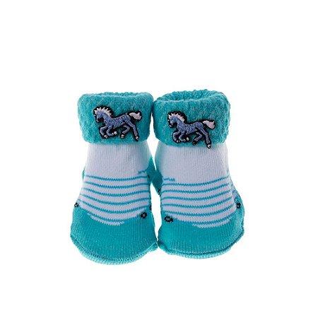 Meia Bebe Baby in Box Masculina Cor Azul – Aplique Cavalo (16-21)