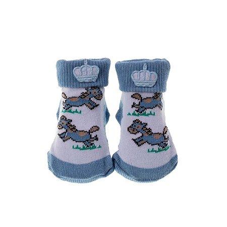 Meia Bebe Baby in Box Masculina Estampa Cavalo – Aplique Coroa  (16-21)