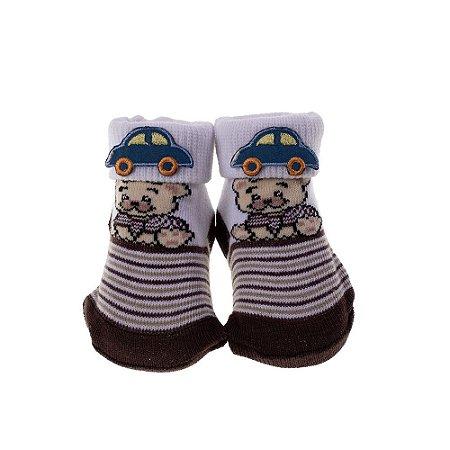 Meia Bebe Baby in Box Masculina Estampa Ursinho – Aplique Carrinho  (16-21)