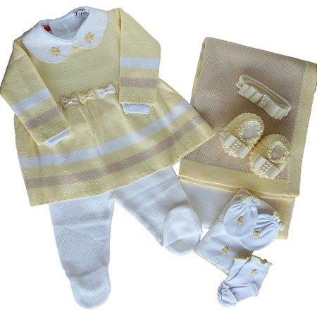 Saída De Maternidade Feminina Amarela com Lacinhos - (Vestido + Calça + Manta)