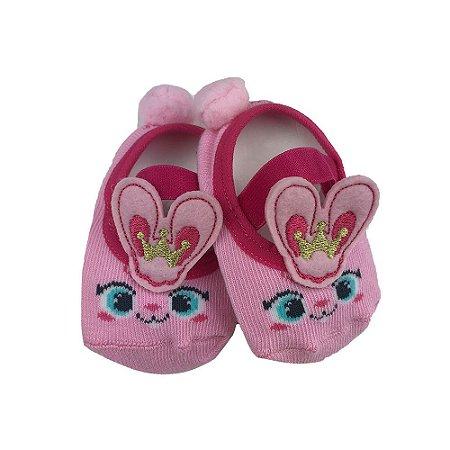 Meia Sapatilha Bebe Com aplique Coelhinha Princesa - Puket