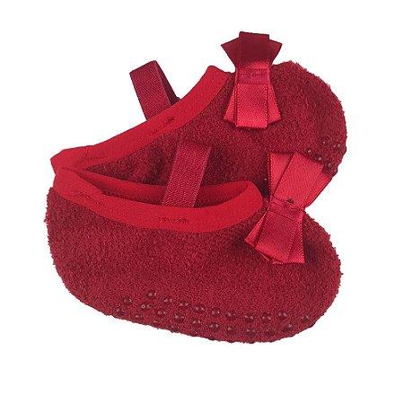 Meia Sapatilha Bebe Soft Vermelha Aplique Laço - Puket