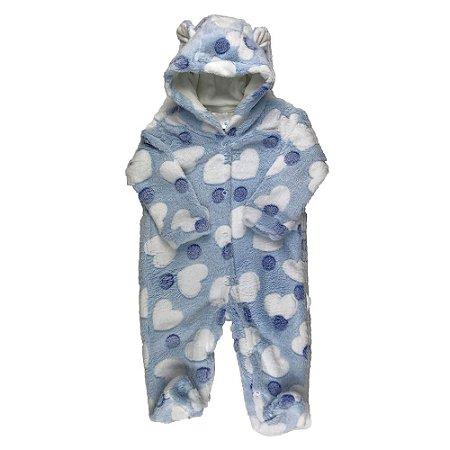 Macacão Longo Bebê FLEECE - Estampa Coração - Branco/Azul  (M)