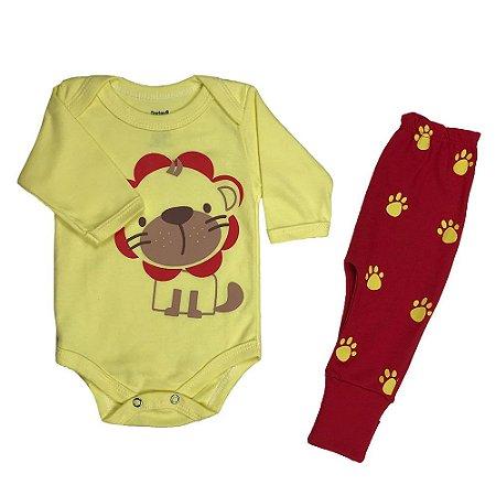 Body + Culote Masculino Amarelo com Estampa de Tigre - Doctor Baby