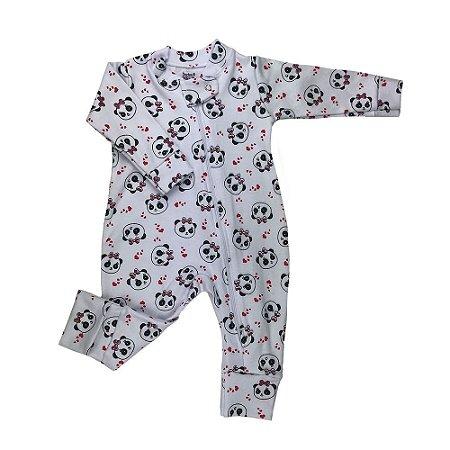 Macacão Longo Bebê Feminino Com Ziper Estampa de Panda Branco/Vermelho - Doctor Baby