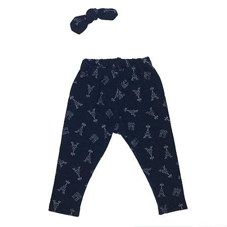 Calça Legging Infantil Peluciada Molecotton Azul/Prata + Laço