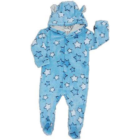 Macacão Longo Bebê FLEECE - Estampa Estrela - Azul