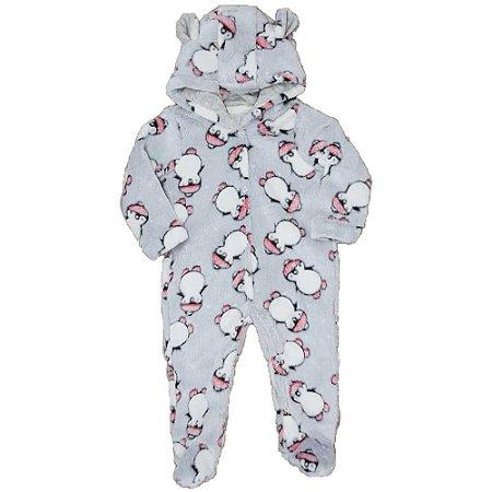Macacão Longo Bebê Feminino FLEECE - Estampa Pinguim