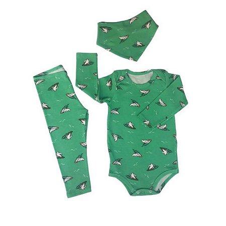 Kit Body Cotton  + Calça + Bandana - Verde Divertida