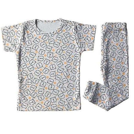 Blusa Manga Curta + Calça - (Pijaminha)  Estampa de Ursinho