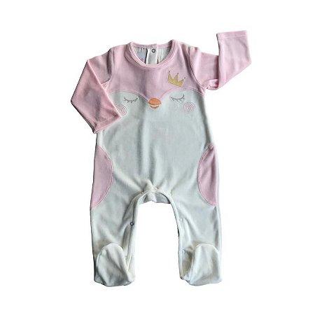 Macacão Longo Bebê Feminino Plush Rosa/Beige - Pinguim