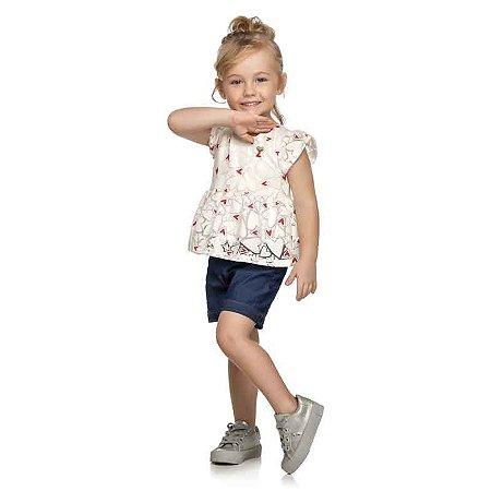 Conjunto Bebê Blusa Tule Devorê e Shorts Jeans