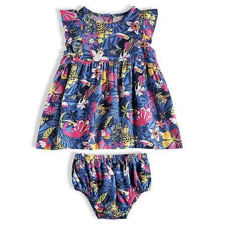 "Vestido Bebê Manga Curta + Tapa Fralda "" Tropical"" Azul - TIP TOP"