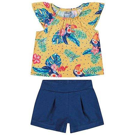 "Conjunto Feminino Bebê Blusa e Shorts ""Tucano"" - Amarelo/azul"