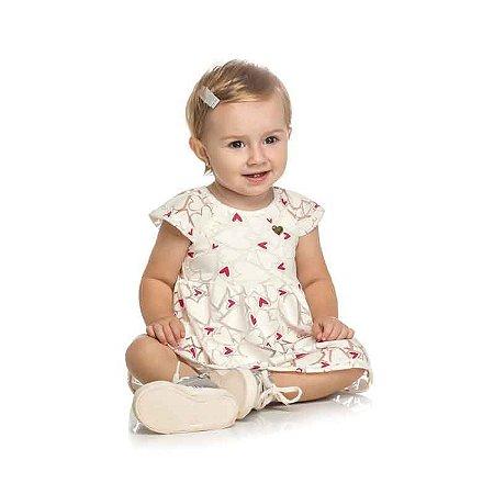 Vestido Bebê Tulê Devore Estampa Coração