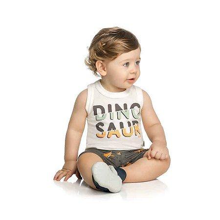 Conjunto Bebê Camiseta Regata e Bermuda Dinoussaro