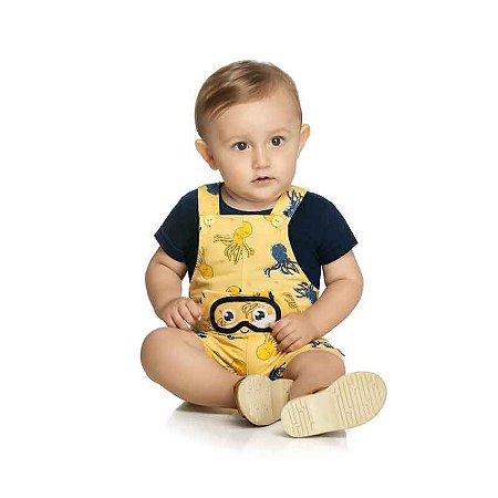 Conjunto Bebê Masculino Camiseta e Macacão Com Aplique Interativo (Olhinhos)