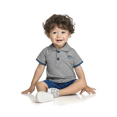 Conjunto Bebê Camisa Polo e Bermuda Dinossauro