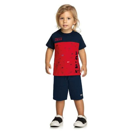 Conjunto Infantil Masculino Camiseta e Bermuda Estampa Enjoy