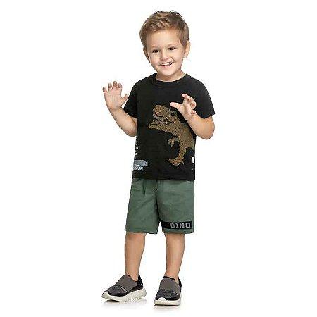 Conjunto Infantil Masculino Camiseta e Bermuda Dinossauro - Preta