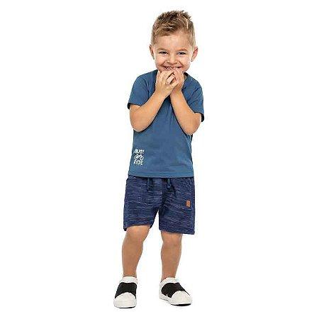 """Conjunto Infantil Masculino Camiseta e Bermuda """"Bike"""""""