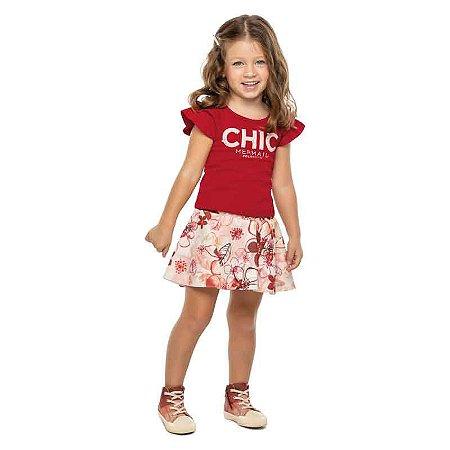 Conjunto Infantil Feminino Blusa e Saia Shorts Chic com Perolas