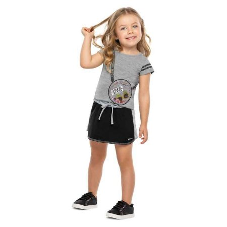 "Conjunto Infantil Feminino Blusa e Saia Shorts ""Estampa Bolsa"""