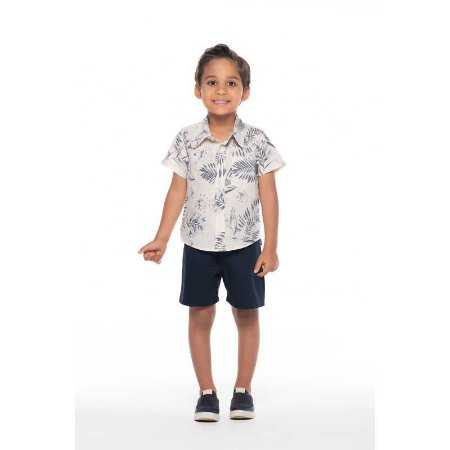 Conjunto Bebê Masculino Camisa Linho e Bermuda - Cru e Azul